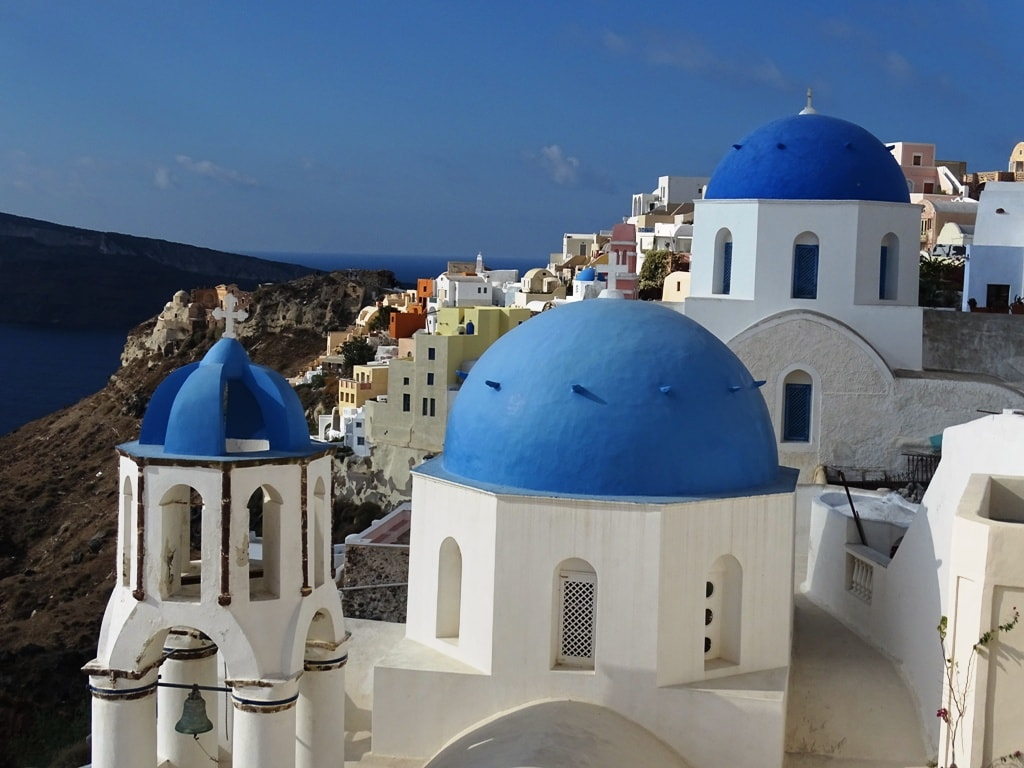 The three domes in OIa, Santorini