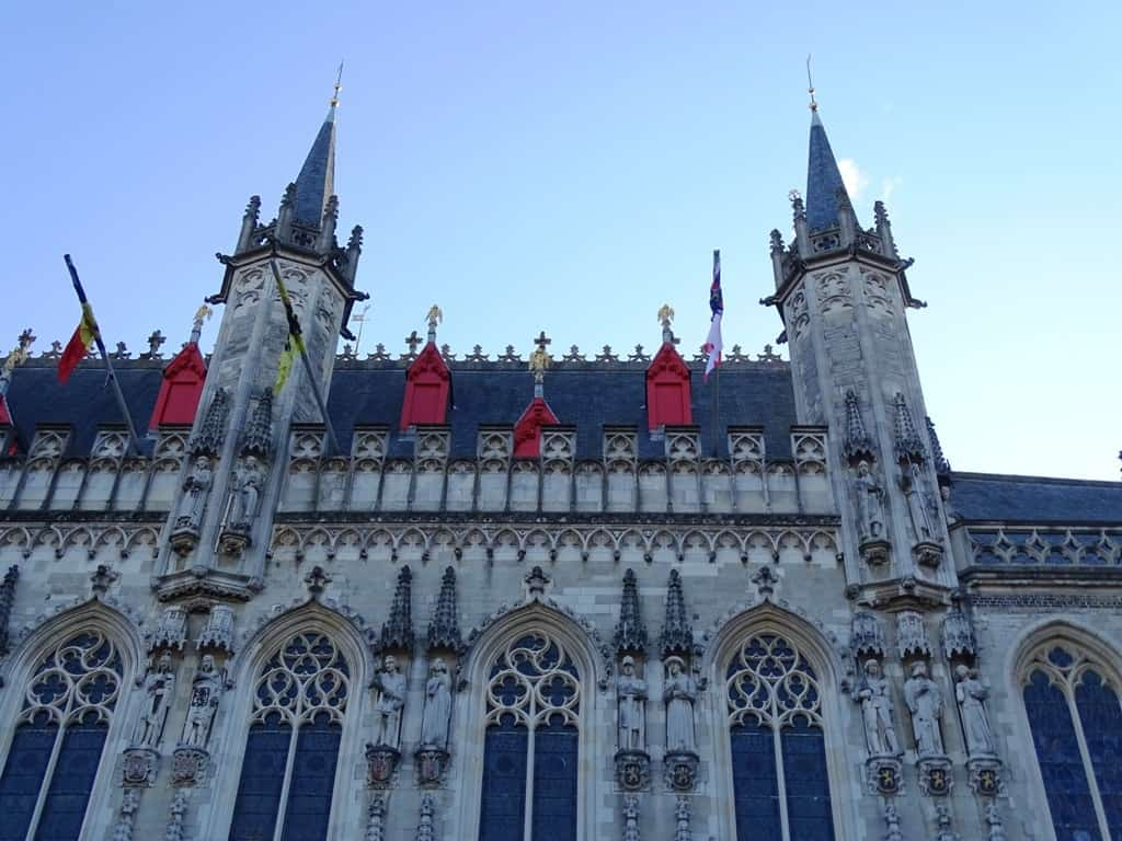 City town Hall in Burg Square Bruges-