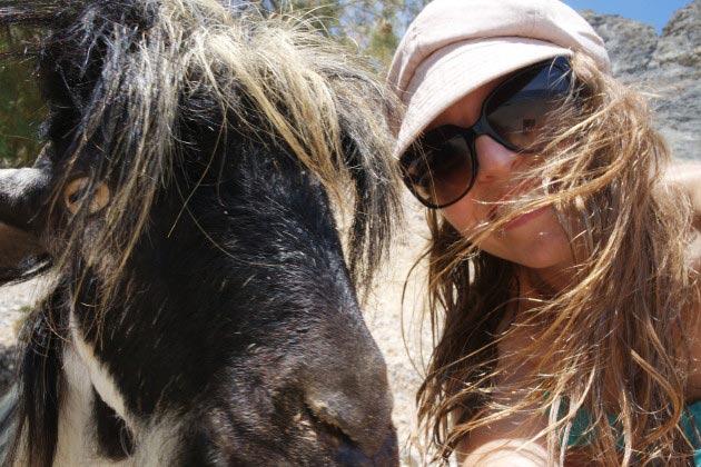 Glyka Nera beach, Selfie with goat