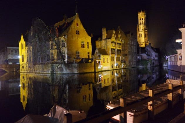 Canals, Bruges, night Belgium