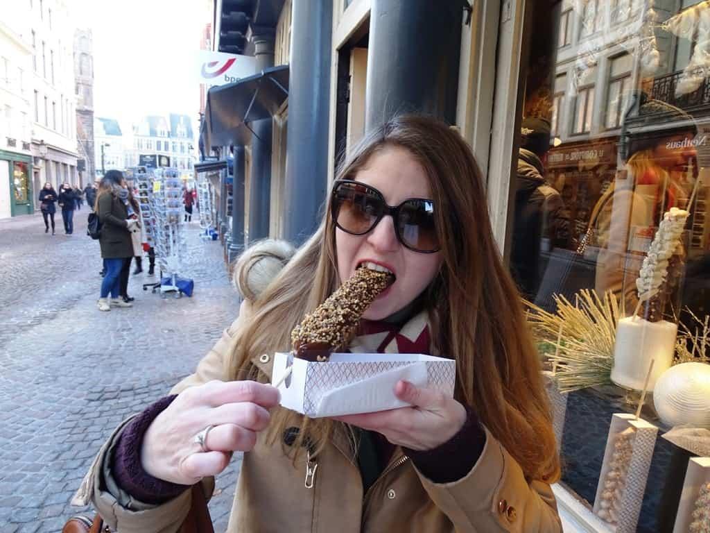 Waffle on a stick. Bruges