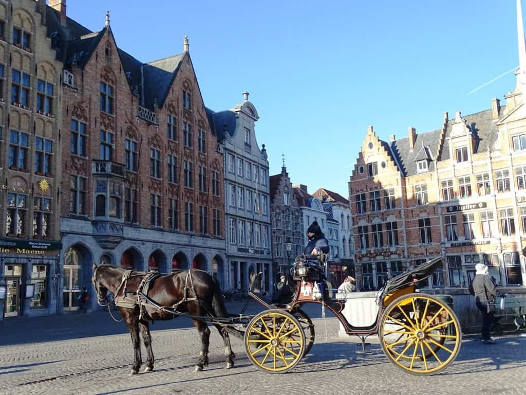 horse carriages in Market Square Bruges