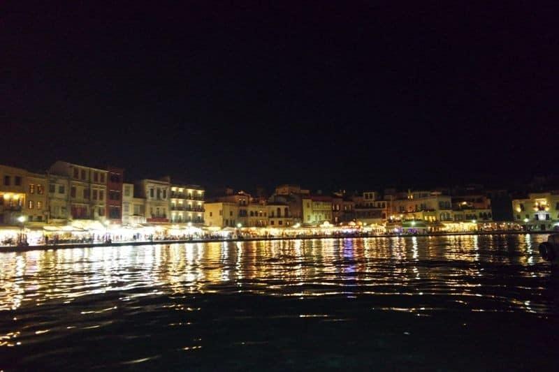 night view of the Venetian port, Chania, Crete