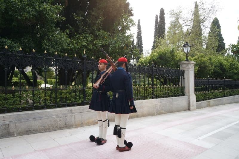 Guards at the presidential mansion in Athens