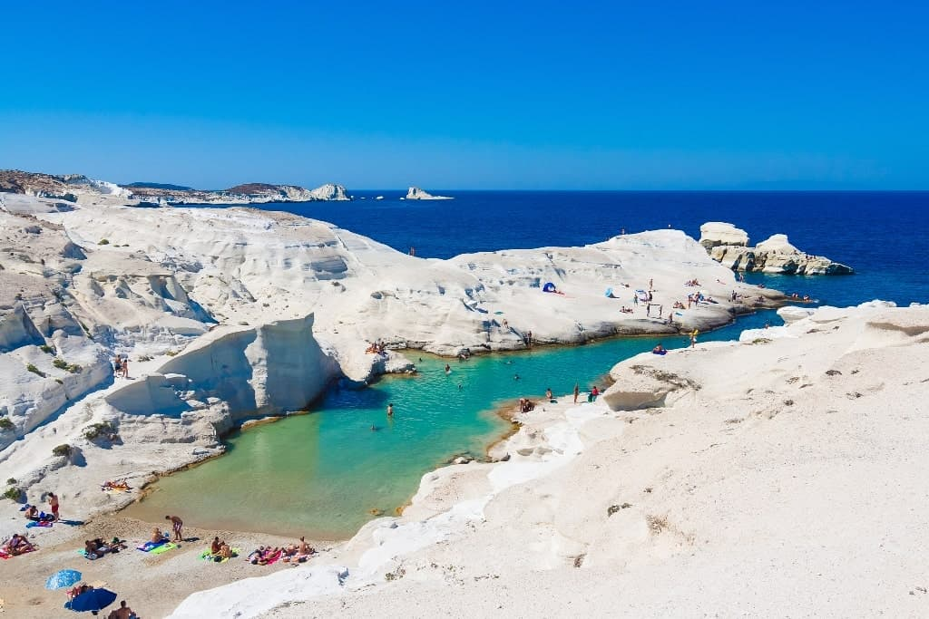 Sarakiniko Beach in MIlos is one of the most famous beacches on the greek islands