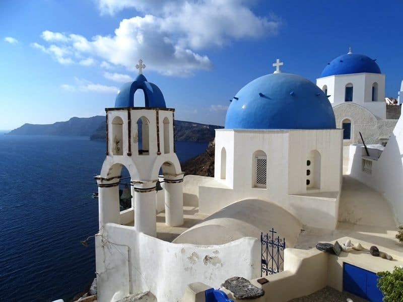 The three Domes in Oia---popular photography spot
