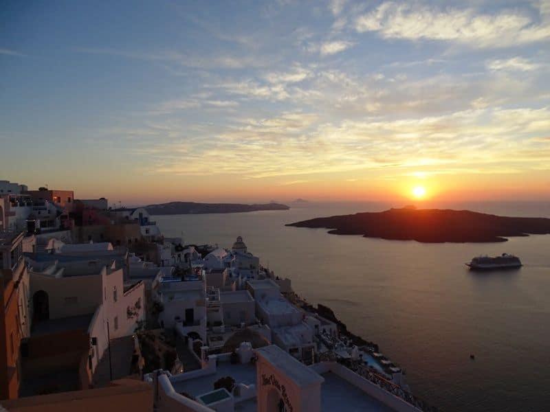 sunset in Fira