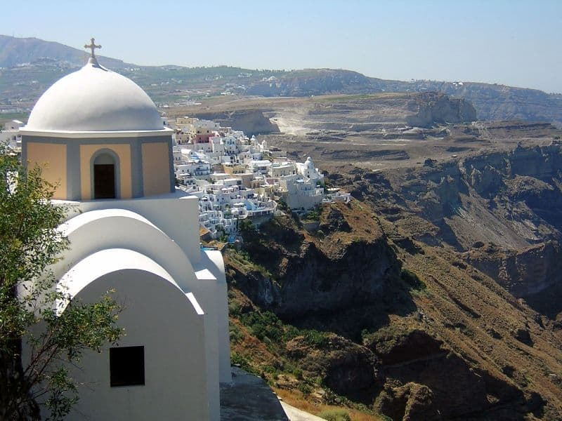 Santorini view of the caldera