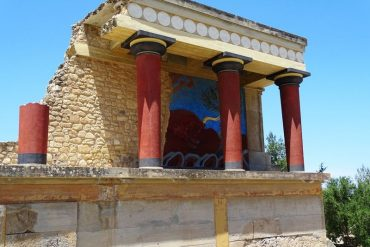 West Bastion with the fresco of the bull at Knossos Palace Crete