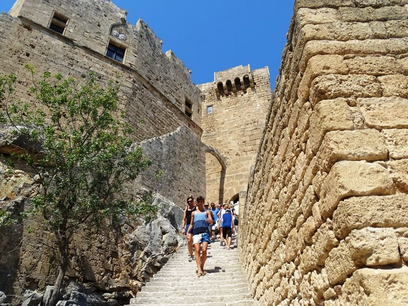 Climbing at the Acropolis in Lindos