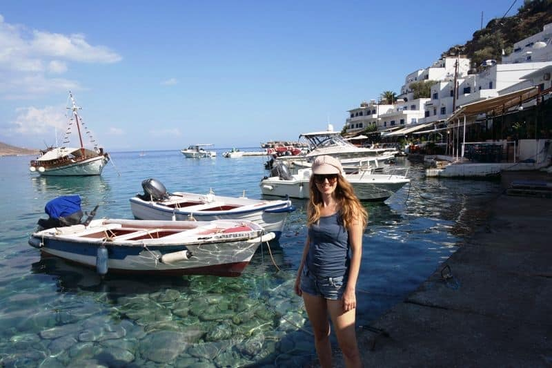 Me at Loutro, Crete at the harbor in Summer