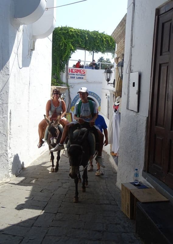 donkey ride at Lindos Rhodes