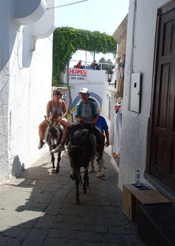 donkey ride at Lindos Rhodes