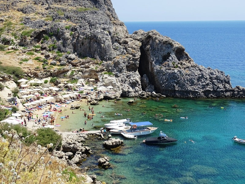 one side of St-Paul's bay Lindos