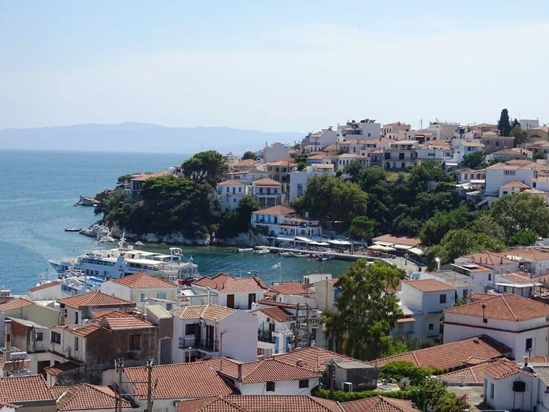view of Skiathos town from the Tower Clock