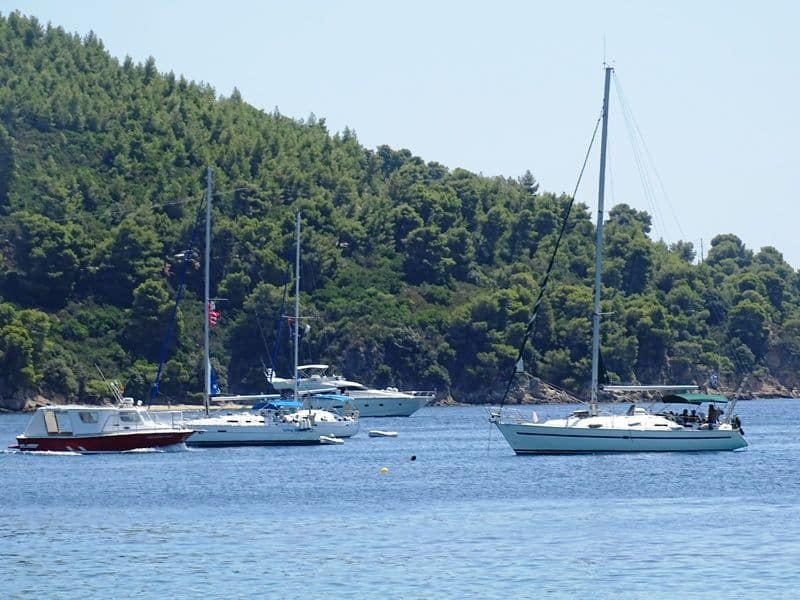 yachts at Koukounaries beach