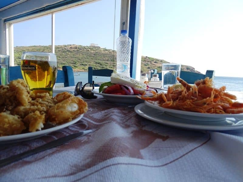 Eating sea food at the taverna