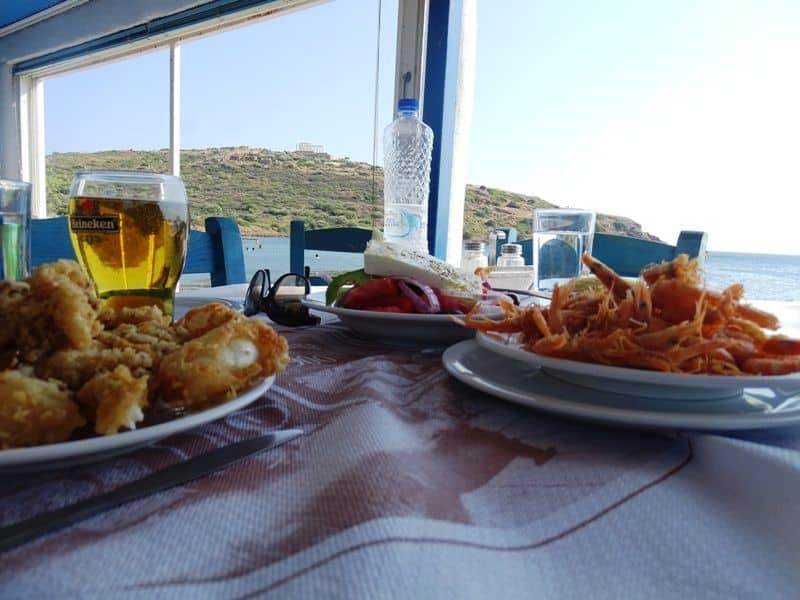 Eating sea food at the taverna