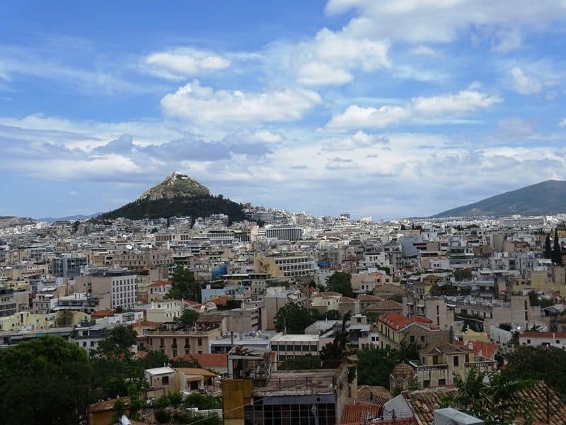 View of Lycabettus hill from Anafiotika