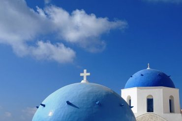 blue domes in Oia