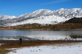 walking at the banks of the artificial lake of Aoos