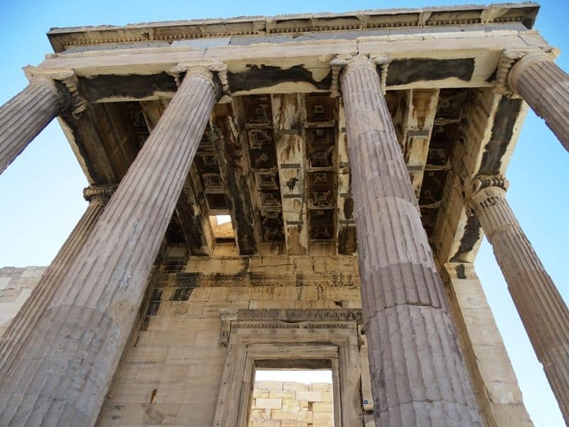According to legend the whole at the top of the temple was created by Poseidon
