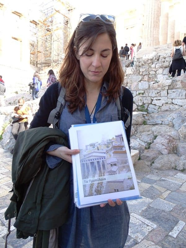 Our guide Ioanna showing us how Propylea used to be in ancient times