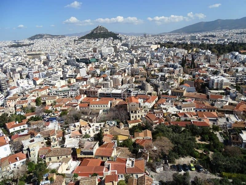 Plaka and Lycabettus hill as seen from the Acropolis