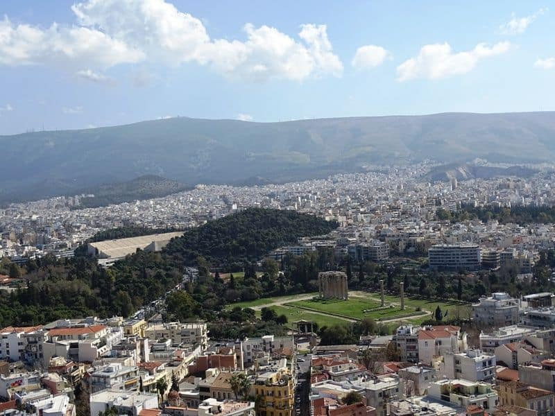 The Panathenaic Stadium and the Temple of Olympian Zeus as seen from the Acropolis