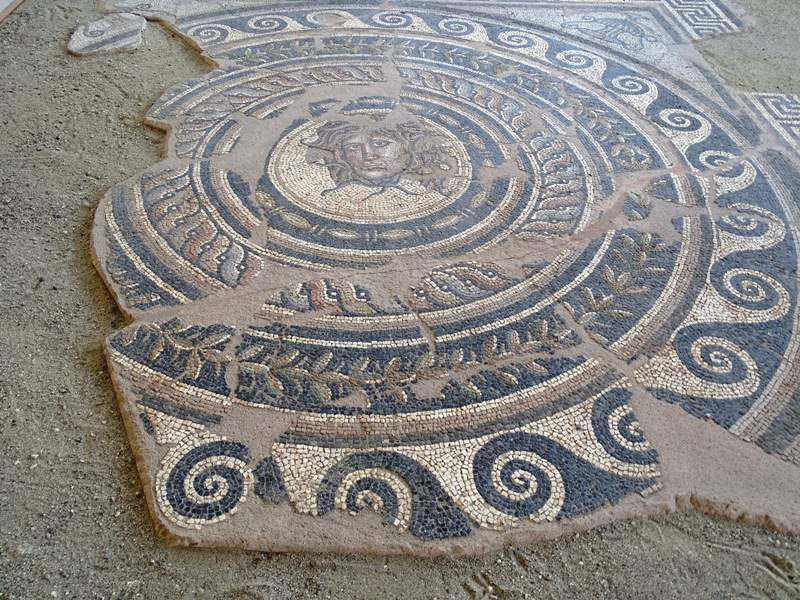 Mosaic floor from the Villa of Dionysos depicting Medusa's head