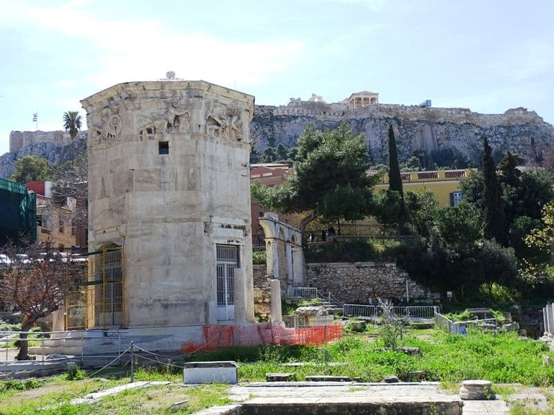 The Tower of the Winds with the Acropolis at the back.