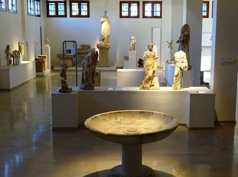 the ground floor of the Dion archaeological museum