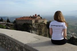 Admiring the view in Meteora