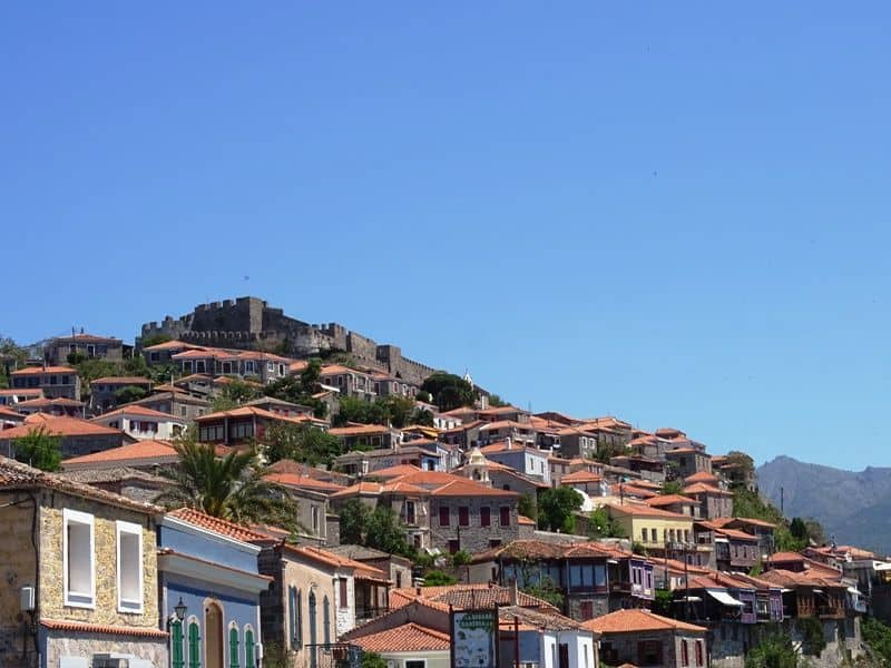 The picturesque village of Molyvos in Lesvos, Greece