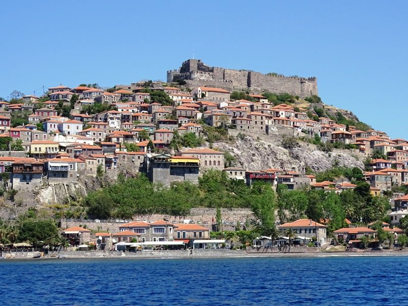 the village of Molyvos from the sea