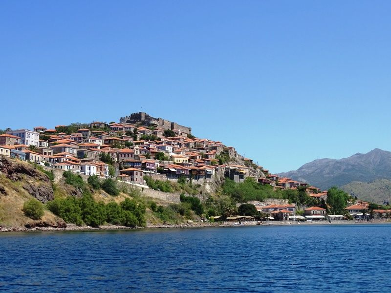 view of Molyvos and the castle from the boat