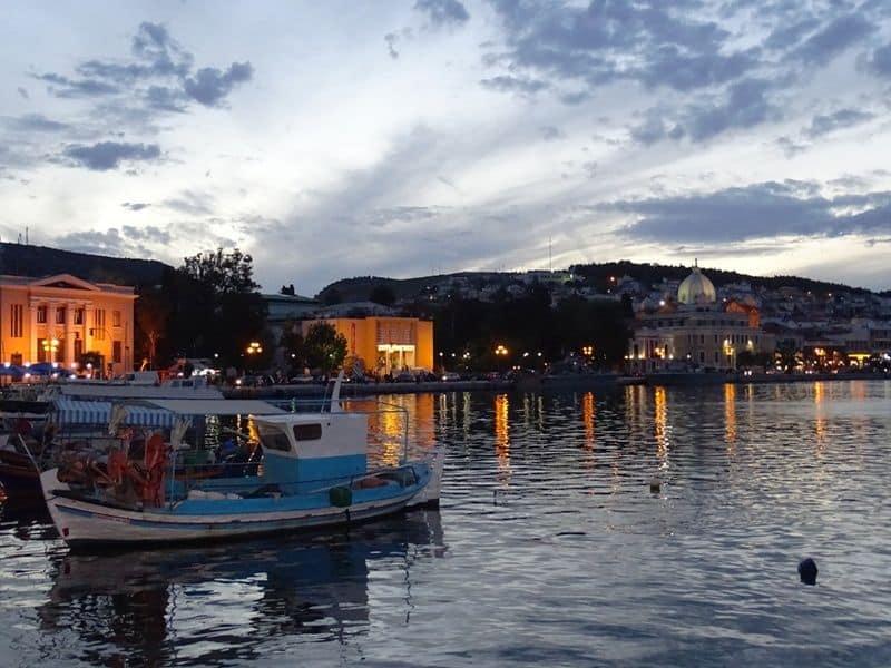 Mytilene town at night