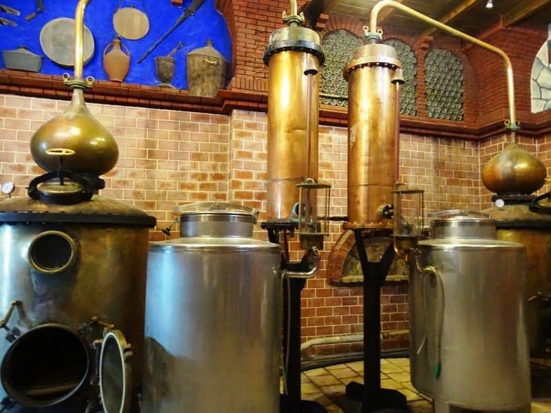 The distillation process of ouzo at EVA distillery