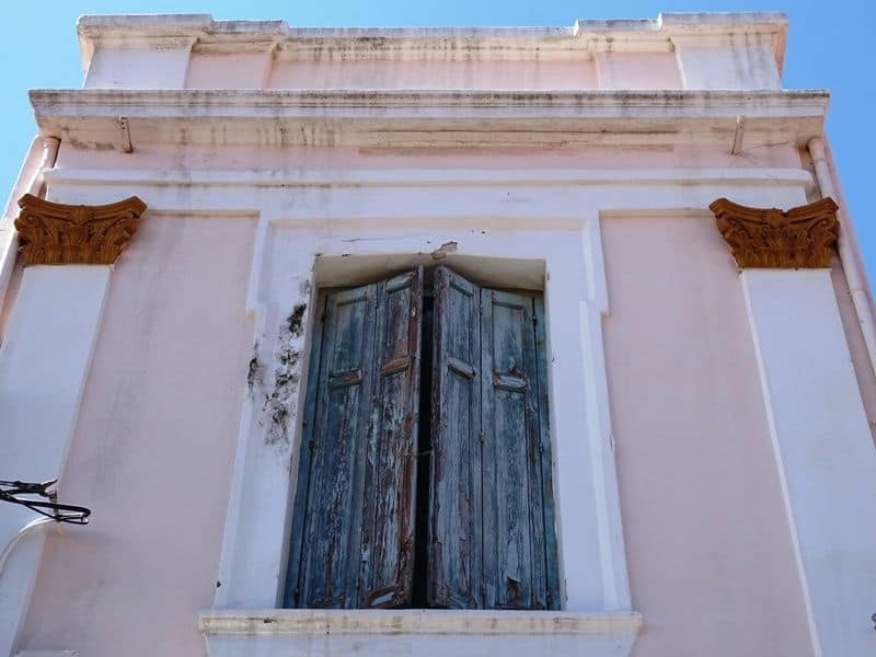 beautiful houses in Ermou street in Mytilene