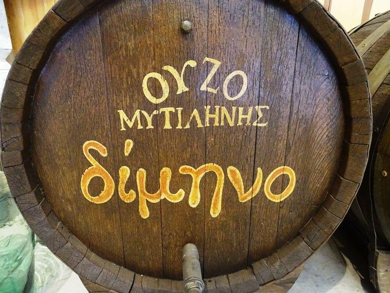 wooden barrel for ouzo at EVA distillery