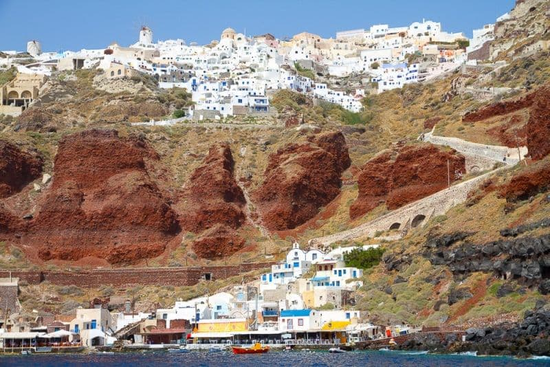 Oia viewed from the sea