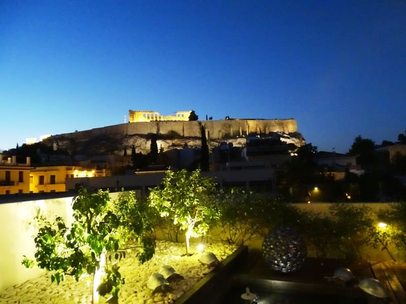 The Acropolis lit up