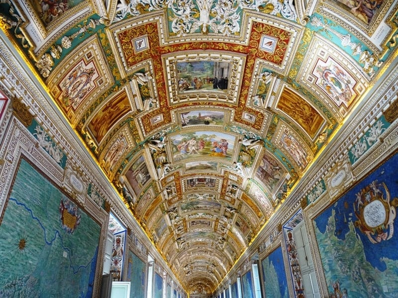 the map room at the Vatican with the impressive ceiling