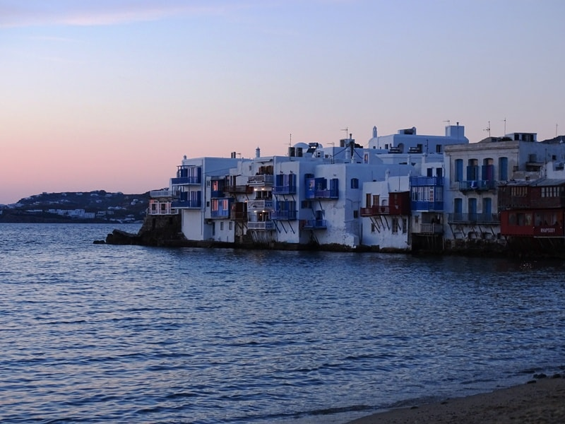 Sunset in Little Venice Mykonos - what to do in mykonos greece
