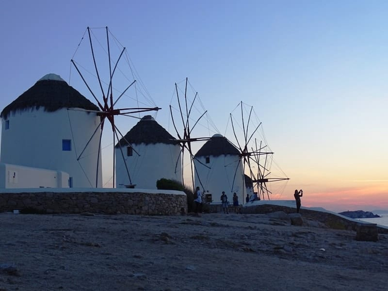 Sunset in the windmills of Mykonos - fun things to do in mykonos