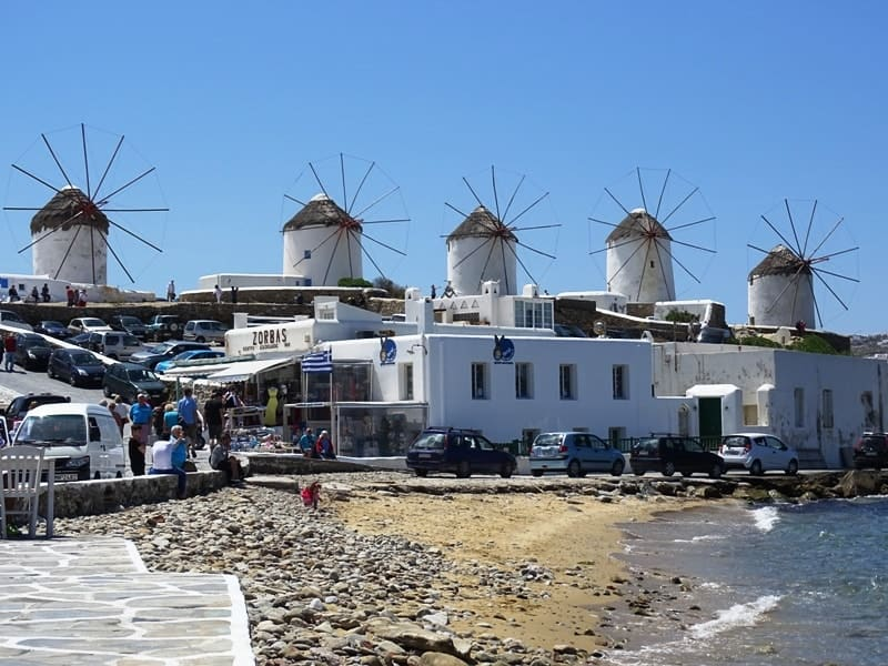The lower windmills in Mykonos town