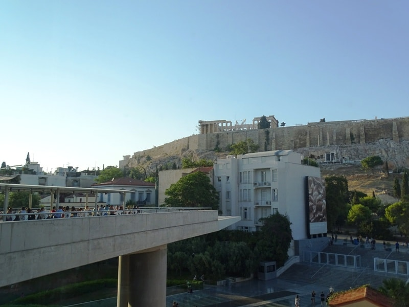 The outdoor terrace of the Acropolis museum overlooking the Acropolis