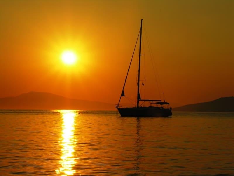 sunset from Delpfinia beach in Mani