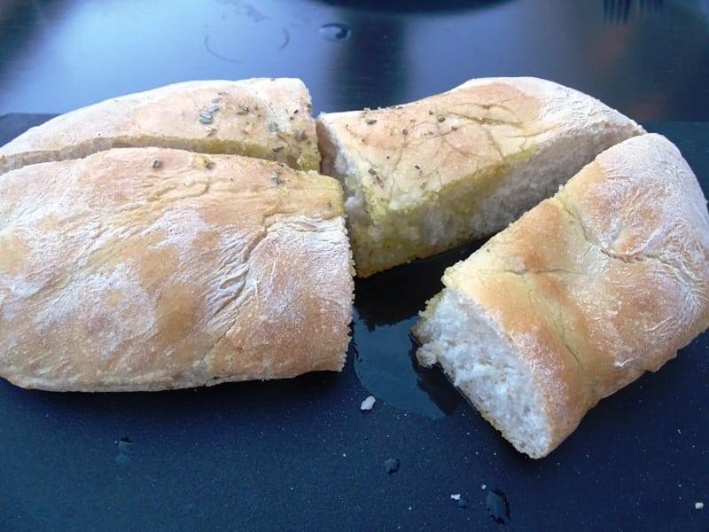 warm bread with olive oil and oregano