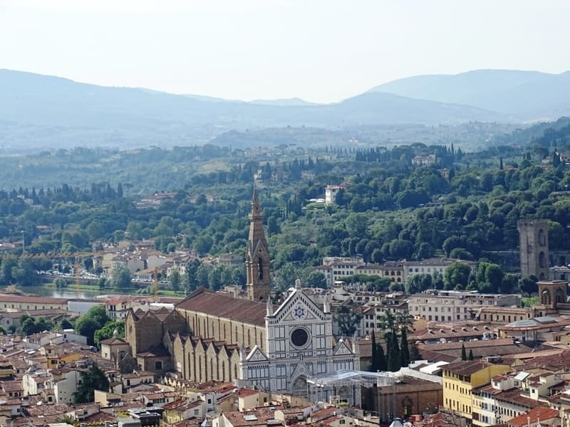 Florence from above - Santa Croce church as seen from the top of Duomo's Cupola
